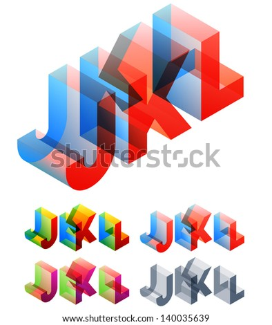 Vector illustration of colored text in isometric view. Standard characters. letters J K L - stock vector
