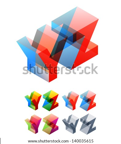 Vector illustration of colored text in isometric view. Standard characters. letters Y Z - stock vector