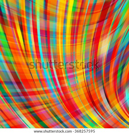 Vector illustration of colorful  abstract background with blurred light curved lines.  Vector geometric illustration. Red, yellow, orange, green colors.  - stock vector