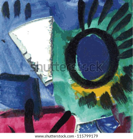 Vector illustration of colorful abstract painting. - stock vector