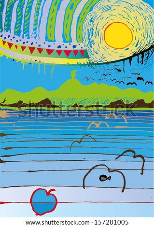 Vector illustration of colorful abstract sea landscape. Hand drawn surrealism imagination painting. - stock vector