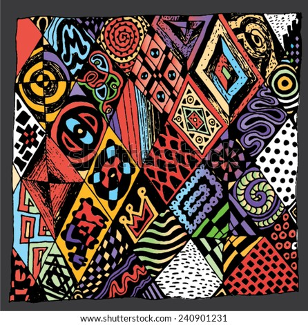 Vector illustration of colorful abstract tribal like drawing. Hand drawn illustration.