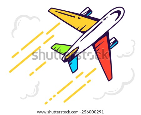 Vector illustration of colorful airplane flying right up among the clouds leaving a trail on light background. Bright color line art design for web, site, advertising, banner, poster, board and print. - stock vector