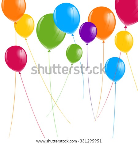 Vector Illustration of Colorful Balloons - stock vector