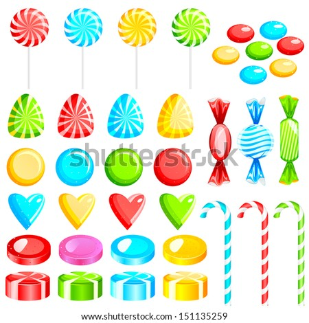 vector illustration of colorful candies - stock vector