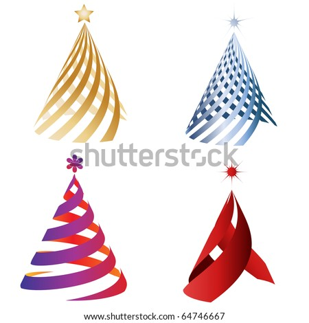 Vector - Illustration of colorful christmas decoration tree with various patterns