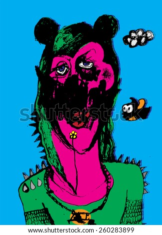 Vector illustration of colorful creature head. Abstract, hand drawn, big ears. - stock vector