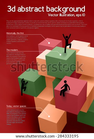 Vector illustration of colorful 3d cubes with people - stock vector