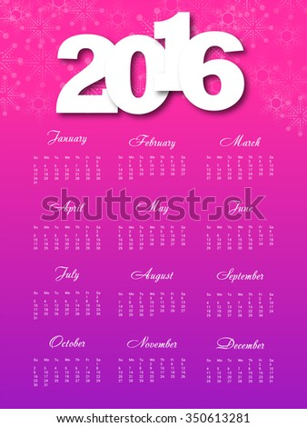 Vector illustration of colorful design 2016 Calendar.