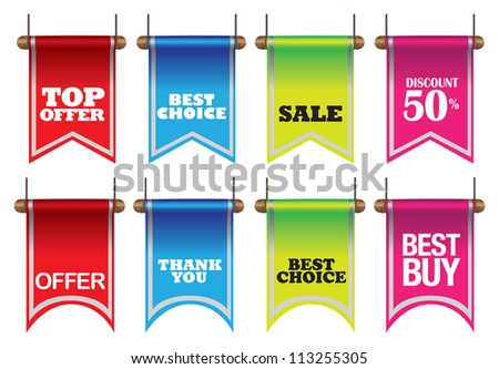 Vector illustration of colorful discount sell labels - stock vector