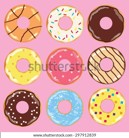 vector illustration of colorful donut background