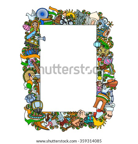 vector illustration of colorful doodle on India concept - stock vector
