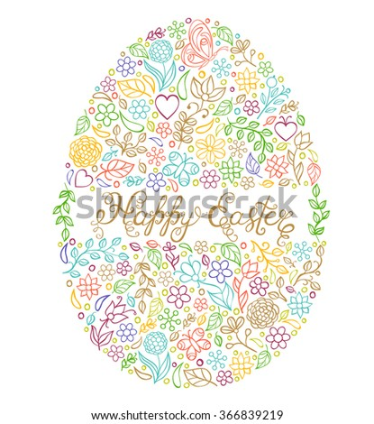 vector illustration of colorful Easter egg on white background
