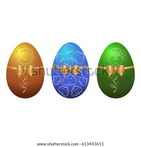 Vector illustration of colorful easter eggs with patterns and ribbons with bow. Set of different painted eggs isolated on white background.