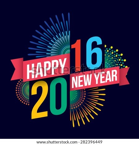 Vector illustration of Colorful fireworks. Happy new year 2016 theme - stock vector