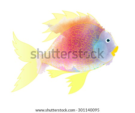 Vector illustration of colorful fish. Watercolor splatters