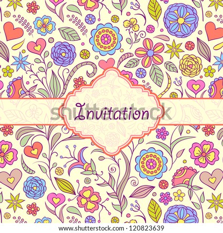 Vector illustration of  colorful floral invitation card ( or place your text)
