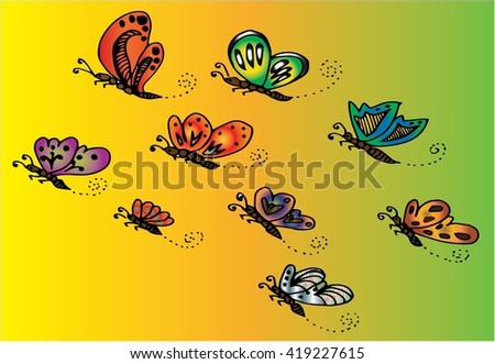 vector illustration of colorful flying butterflies, hand drawing