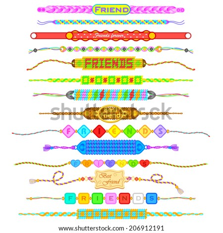 vector illustration of colorful Friendship bands - stock vector