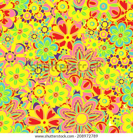 Vector illustration of colorful fun flower floral design seamless background