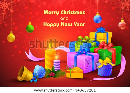 vector illustration of colorful gift and presents for Merry Christmas and New Year