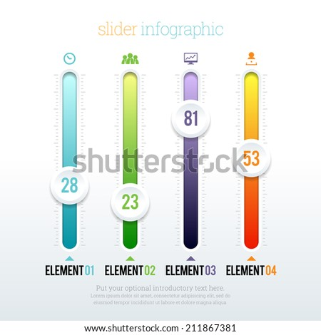 Vector illustration of colorful glossy slider infographic elements. - stock vector
