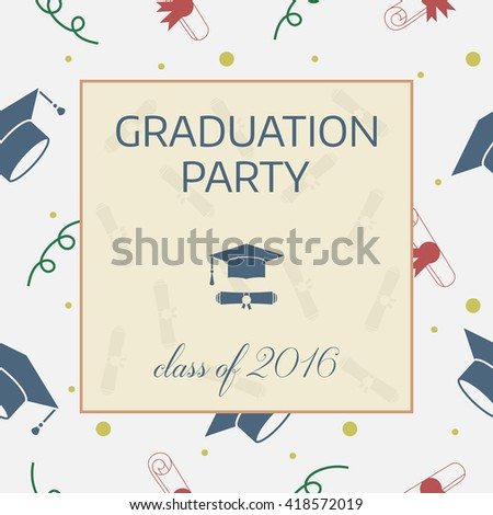 Vector illustration of colorful graduation party invitation. Celebrating graduational card template background with tossing hats, diplomas, ribbons and other finish education elements. - stock vector