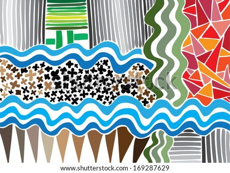 Vector illustration of colorful graphic pattern. River, meadow, water, squares, triangles. Abstract background. - stock vector