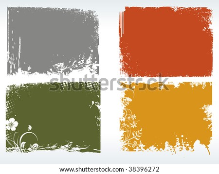 vector illustration of colorful grungy frames with floral pattern - stock vector