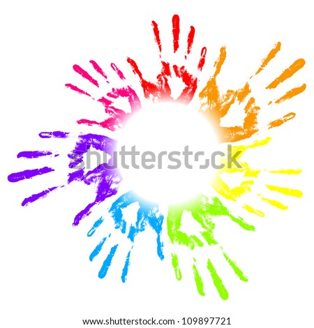 Vector illustration of colorful hand prints - stock vector