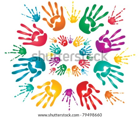 vector illustration of colorful hand prints and paint splashes for the hindu festival of holi in eps 10 format