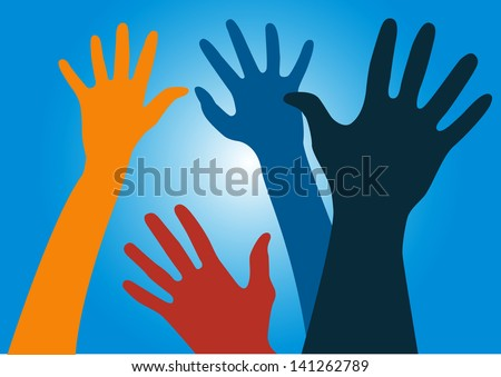 Vector illustration of colorful hands reaching into the air against the sun with blue sky and light rays
