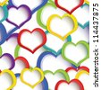 Vector illustration of colorful heats seamless background on white - stock