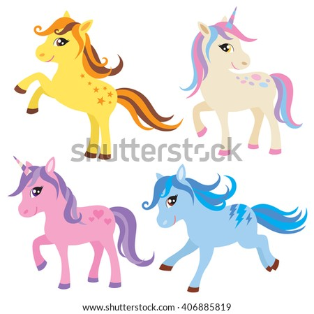 Vector illustration of colorful horse, pony and unicorn.  - stock vector