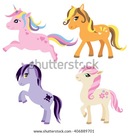Vector illustration of colorful horse, unicorn, or pony.  - stock vector