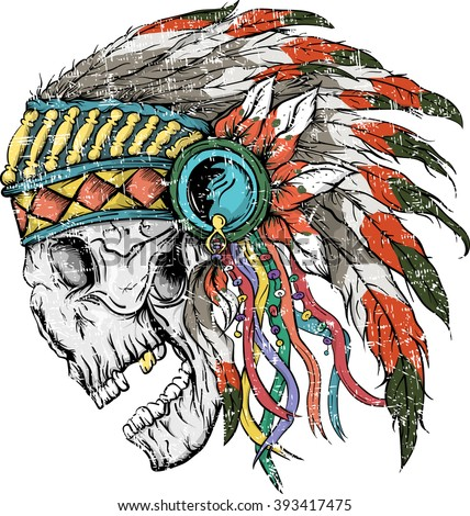 Vector illustration of colorful Indian  skull . Vector illustration of design for shirt , T-shirt with Indian skull on white background. Vintage design for shirt. - stock vector