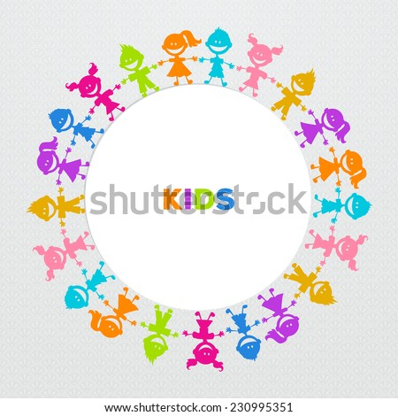 Vector illustration of Colorful kids friends image - stock vector