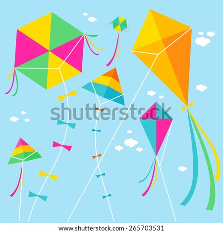 Vector illustration of colorful kites and clouds in the sky. - stock vector