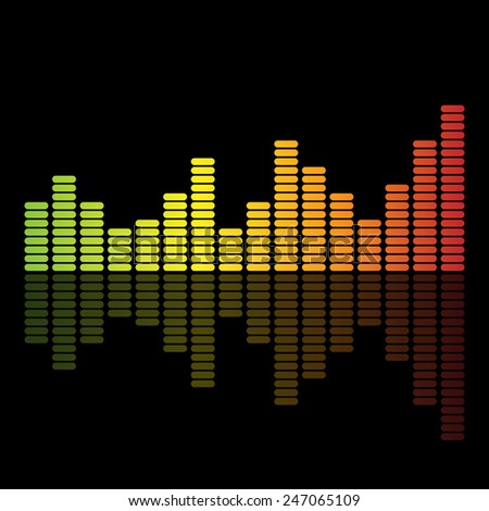 vector illustration of colorful musical bar showing volume - stock vector