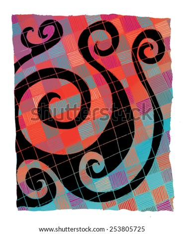 Vector illustration of colorful orange blue abstract spiral checkers drawing. Hand drawn image. - stock vector