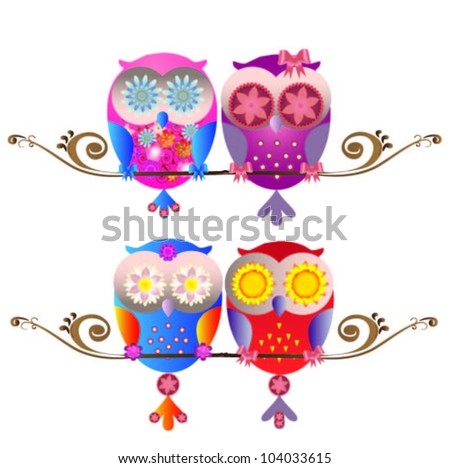 Vector illustration of colorful owls - stock vector
