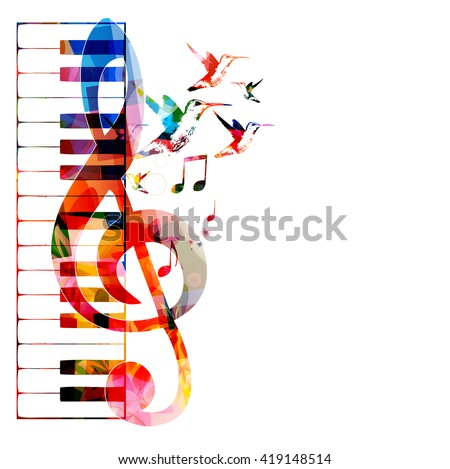 Vector Illustration Colorful Piano Keyboard Gclef Stock Vector