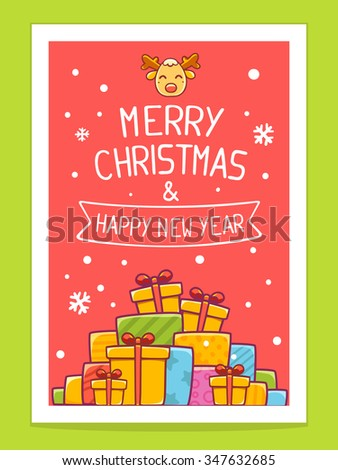 Vector illustration of colorful pile of christmas gifts and hand written text on red background with white snowflakes.Bright color.Hand draw line art design for brochure,template,poster and greeting - stock vector