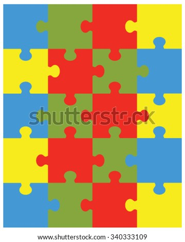 Vector illustration of colorful puzzle, separate pieces - stock vector