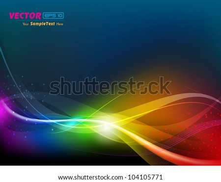 Vector illustration of colorful shiny abstract wave background.EPS 10. Can be use for banner, poster and business presentation. - stock vector
