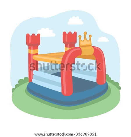 Vector illustration Of Colorful Small Air Bouncer Inflatable Trampoline Castle On The Meadow - stock vector