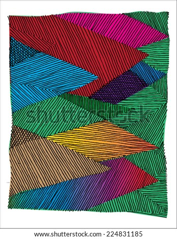 Vector illustration of colorful spectrum hand drawn background / pattern. - stock vector