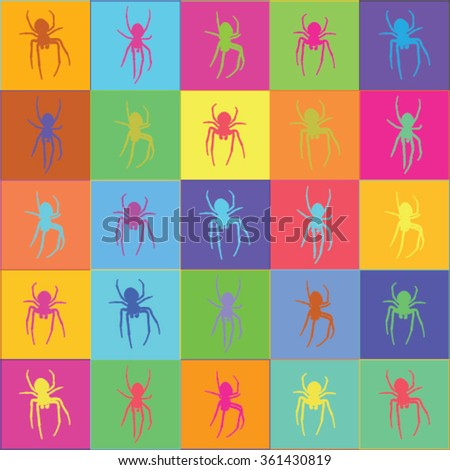 Vector illustration of colorful, spectrum, rainbow spider graphic pattern / background. Colorful spider tiles. - stock vector