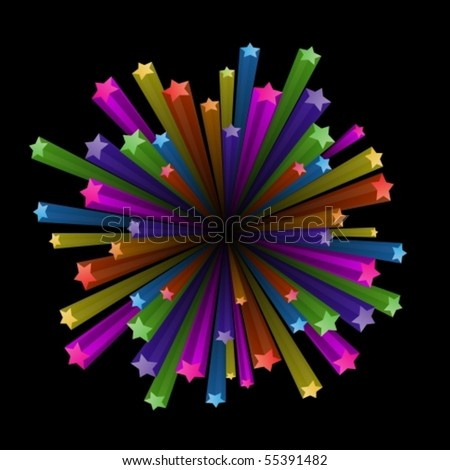 Vector illustration of colorful stars explode on black background - stock vector