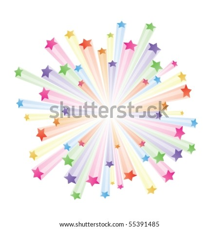 Vector illustration of colorful stars explode on white background - stock vector